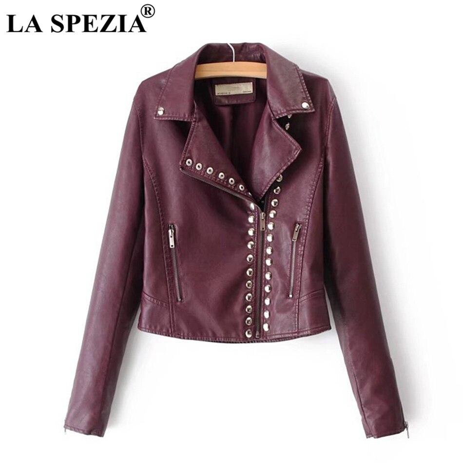 LA SPEZIA Brand Motorcycle Jacket Women Burgundy   Leather   Jackets Ladies Zipper Pockets Rivets Short Biker Classic Autumn Coats