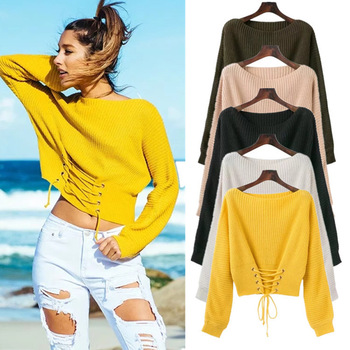 One-neck twist waist vest sweater female jumper autumn pullover casual shirt long-sleeved knit sweater pull female women sweater sweater