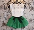 BibiCola мода малышей девушки летние комплектов одежды лук 2 шт. девушки летней одежды набор детей мода костюм установить tracksuit набор