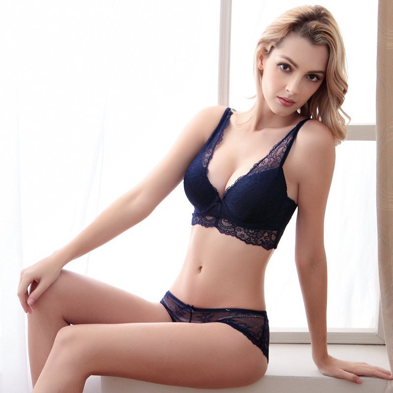 c54fe94e8d836 Noble sexy women's sexy underwear bra buckle deep V neck push up side  gathering bra panties set plus size floral lingerie sets-in Bra & Brief Sets  from ...