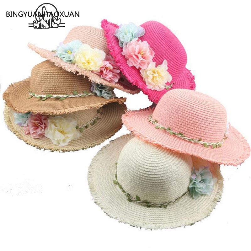 009977f0667d95 BING YUAN HAO XUAN Father-Child Summer Hat for Women Straw Hat for Baby  Beach