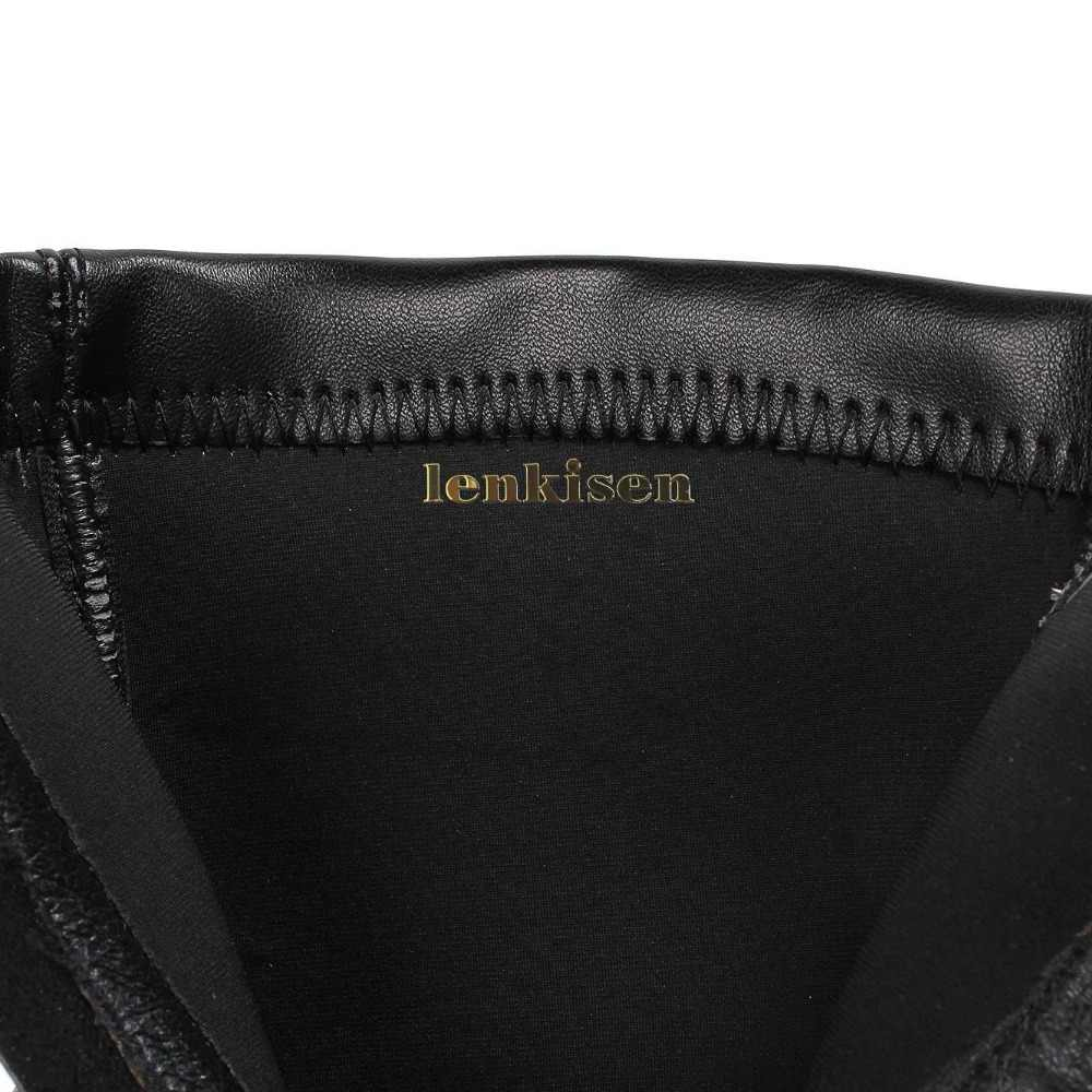 Lenkisen 2018 بيع كبيرة حقيقية الجلود الفاخرة الكلاسيكية مربع اصبع القدم مكتنزة ميد الكعوب زيبر الحديثة الفتيات تمتد منتصف العجل الأحذية L07