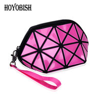 HOYOBISH Korean Style Women Geometric Patchwork Cosmetic Bags Portable Leather Female Make Up Bags Waterproof Travel