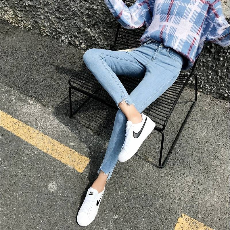 2019 Hole   Jeans   Woman Sexy   Jeans   For Women Black Denim Pencil Pants Skinny Stretch Waist   Jeans