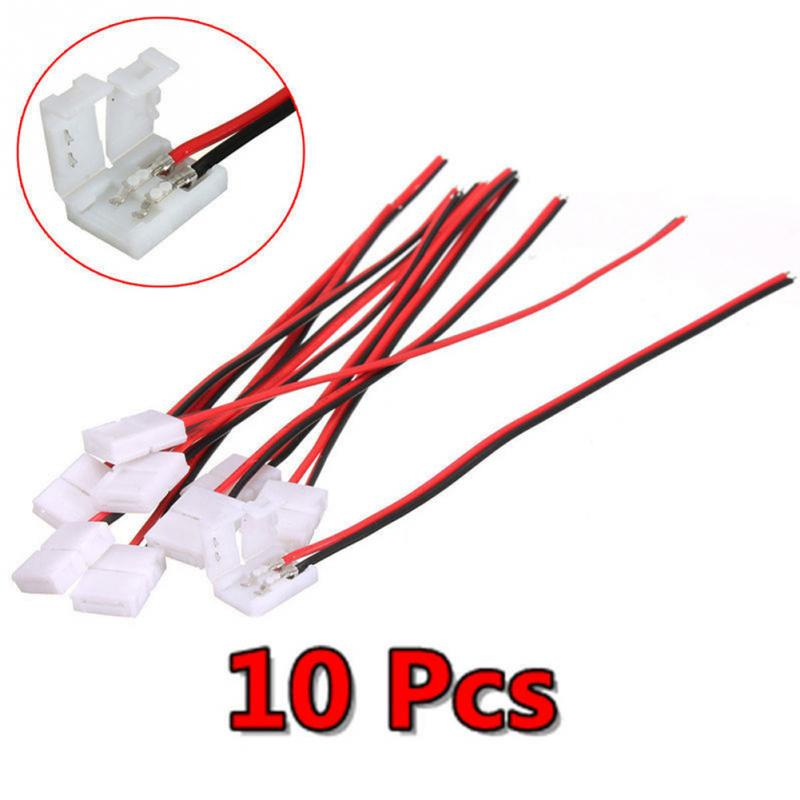 10pcs/lot Electrical Connect Splice 2-Pins Power Connector Adaptor For 3528/5050 Led Strip Wire With PCB 8mm/10mm