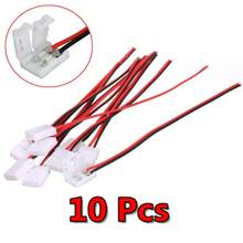 10pcs/lot Electrical Connect Splice 2-Pins Power Connector Adaptor for 3528/5050 Led Strip Wire with PCB 8mm/10mm(China)