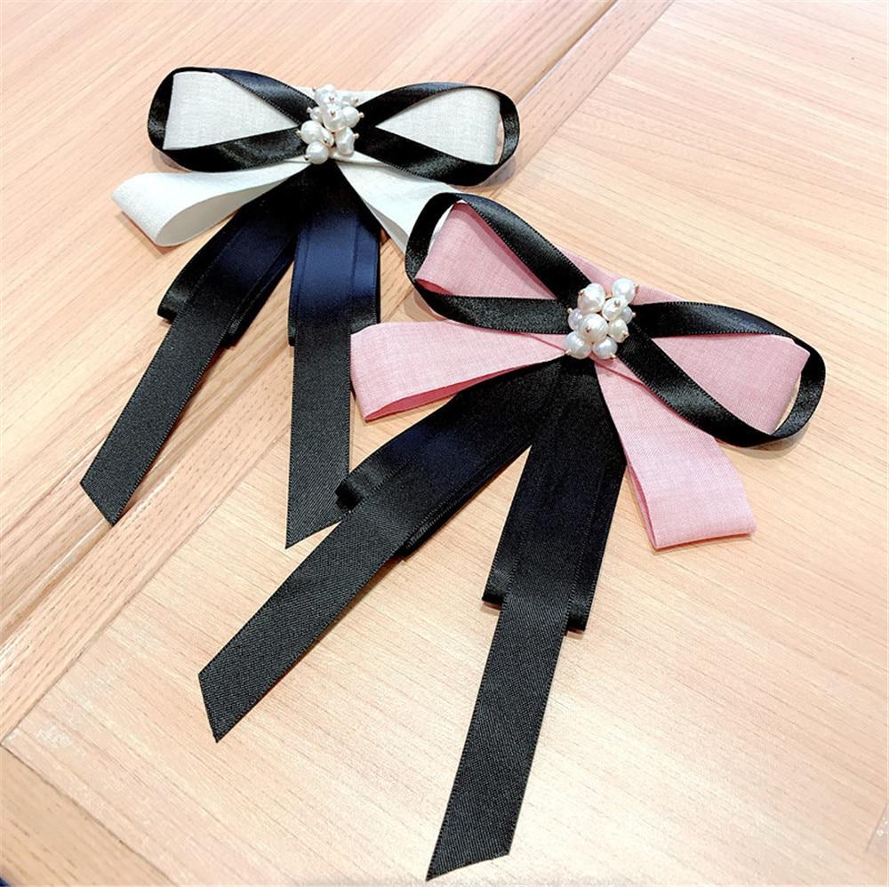 Korea Handmade Fabric Solid Bowknot Pearl Shirt Pins Neck Bow Tie Accessories Fashion Jewelry-YHNLB043F