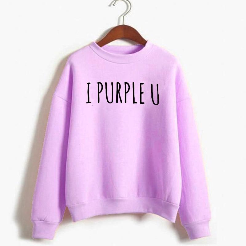 Kpop Sweatshirt I Purple U Letter Printed Women'S Sweatshirt Autumn Winter Fleece Warm Hoodie Korean Style Streetwear Tops