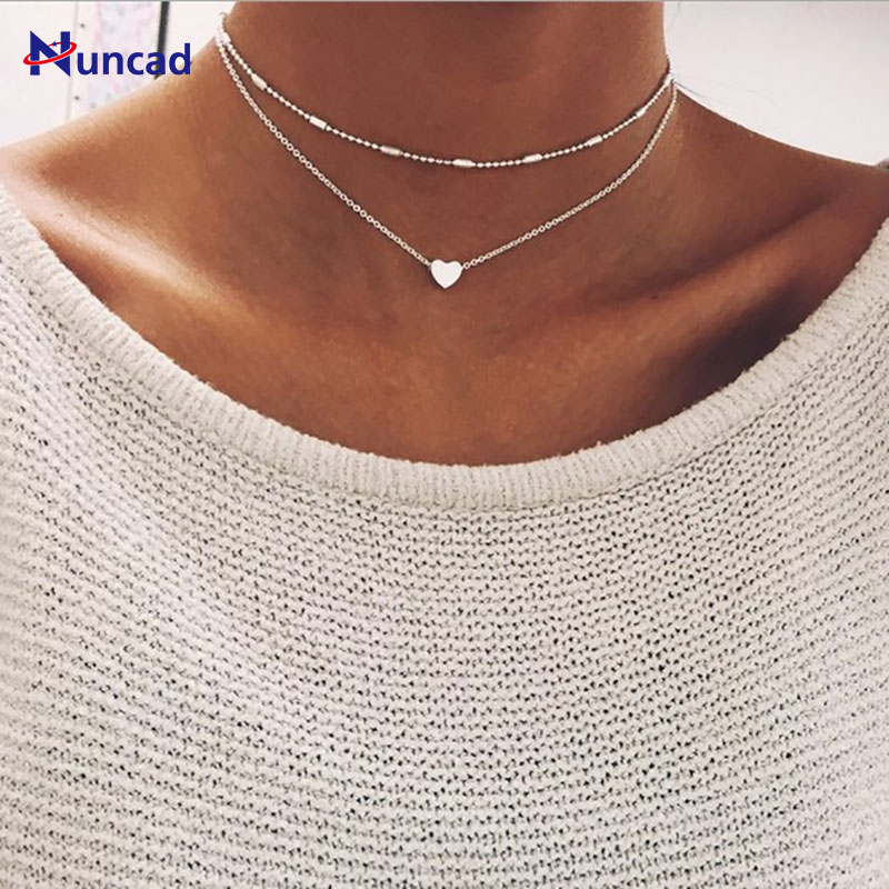 2018 Newest Jewelry Accessories Double Layers Chain Heart Necklace Multilayer Choker Necklace for Couple Lovers