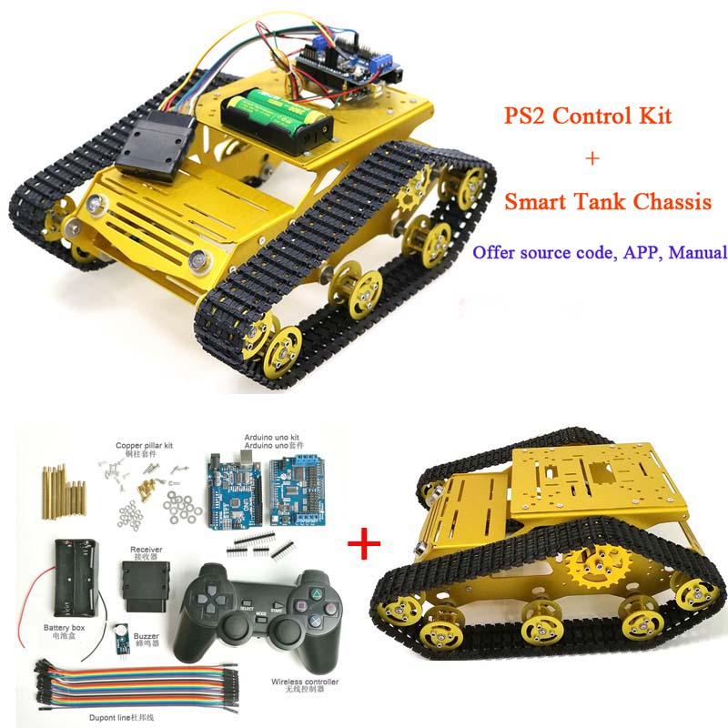 PS2 Joystick Control Smart Robot Tank Chassis With Dual DC 12V Motor+UNO Board+Motor Driver Board For DIY Project Y100