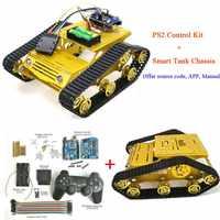 PS2 Joystick Control Smart Robot Tank Chassis met Dual DC 12 v Motor + UNO Board + Motor Driver Board voor DIY Project Y100