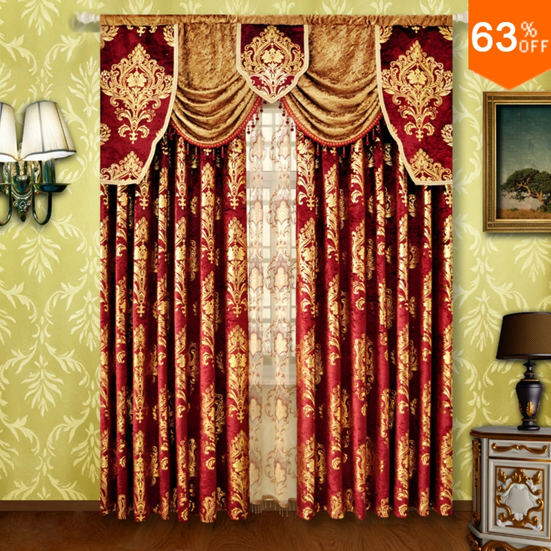 Red Small Fur Surface Embroidery Golden Flowers Curtains Rod Stick Curtain  Classic Design Elegant Bedroom Curtain