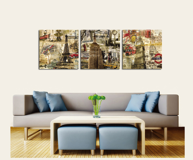 London Paris New York City Wall Vintage Oil Painting Prints on ...