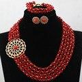 Popular de la india Coral perlas de la boda collar joyería conjunto rojo y oro con cuentas de semillas de dama de honor del partido el envío gratuito CNR569