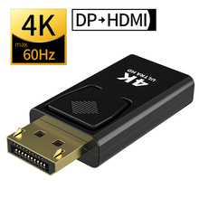 Moshou displyport para hdmi adaptador fêmea para macho max 4k 30hz dp para hdmi conversor 2k vídeo conector de áudio plug para hdtv pc