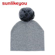 Sunlikeyou Newborn Hairball Baby Boy Girl Kids Caps Cotton Soft Toddler Faux Rabbit Fur Pompom Warm Bonnet Beanie Hat