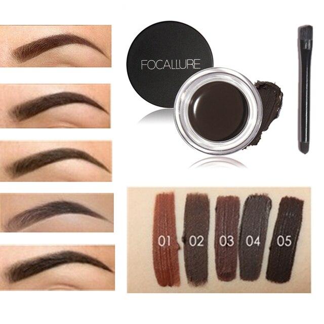 Marque Focallure 5 Couleurs Pomate Maquillage Sourcil Crème Gel avec  Pinceau de Maquillage pour le Maquillage