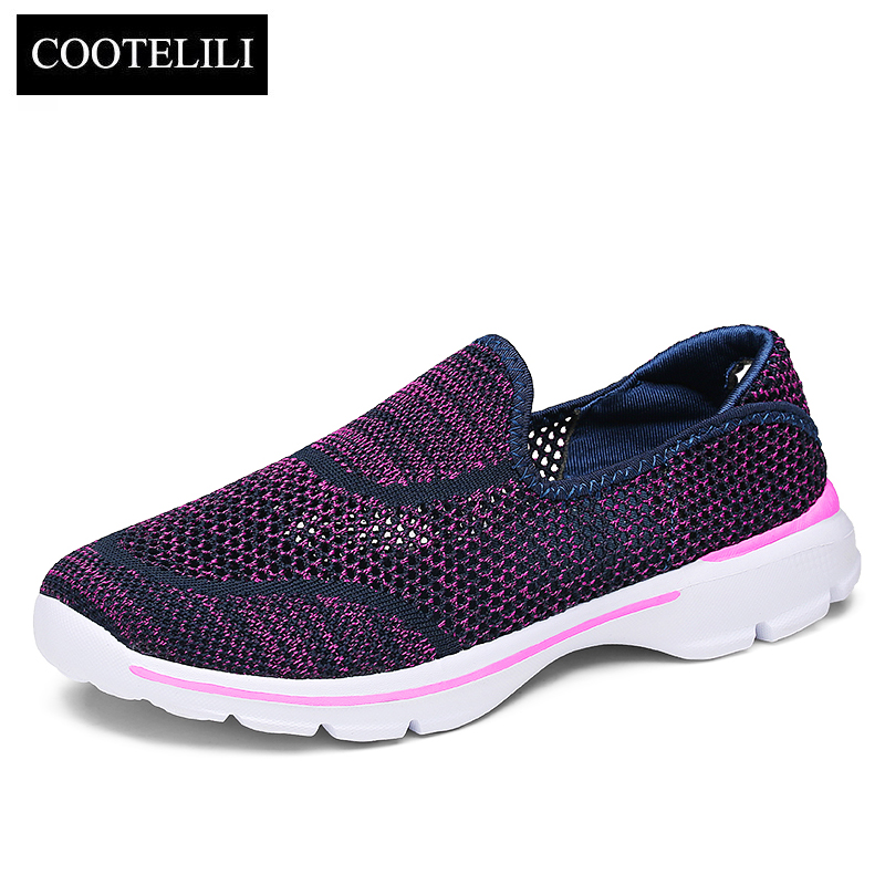 COOTELILI Women Sneakers Platform Casual Shoes Woman Flats Slip on Breathable Loafers Ladies Black Gray Purple Plus Size 40 akexiya casual women loafers platform breathable slip on flats shoes woman floral lace ladies flat canvas shoes size plus 35 43