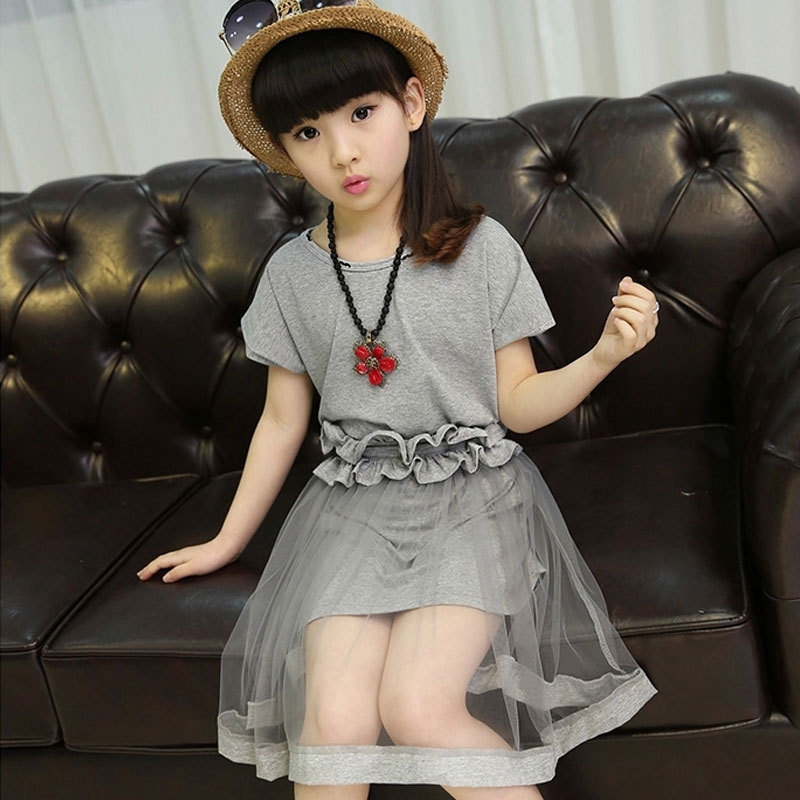 spring summer big girls clothing sets 2 pcs suit long t shirts tops & mesh skirt set little girls kids summer clothes set 2018 high quality new spring autumn girls clothing sets kids clothes girls solid skirt tops set children clothing