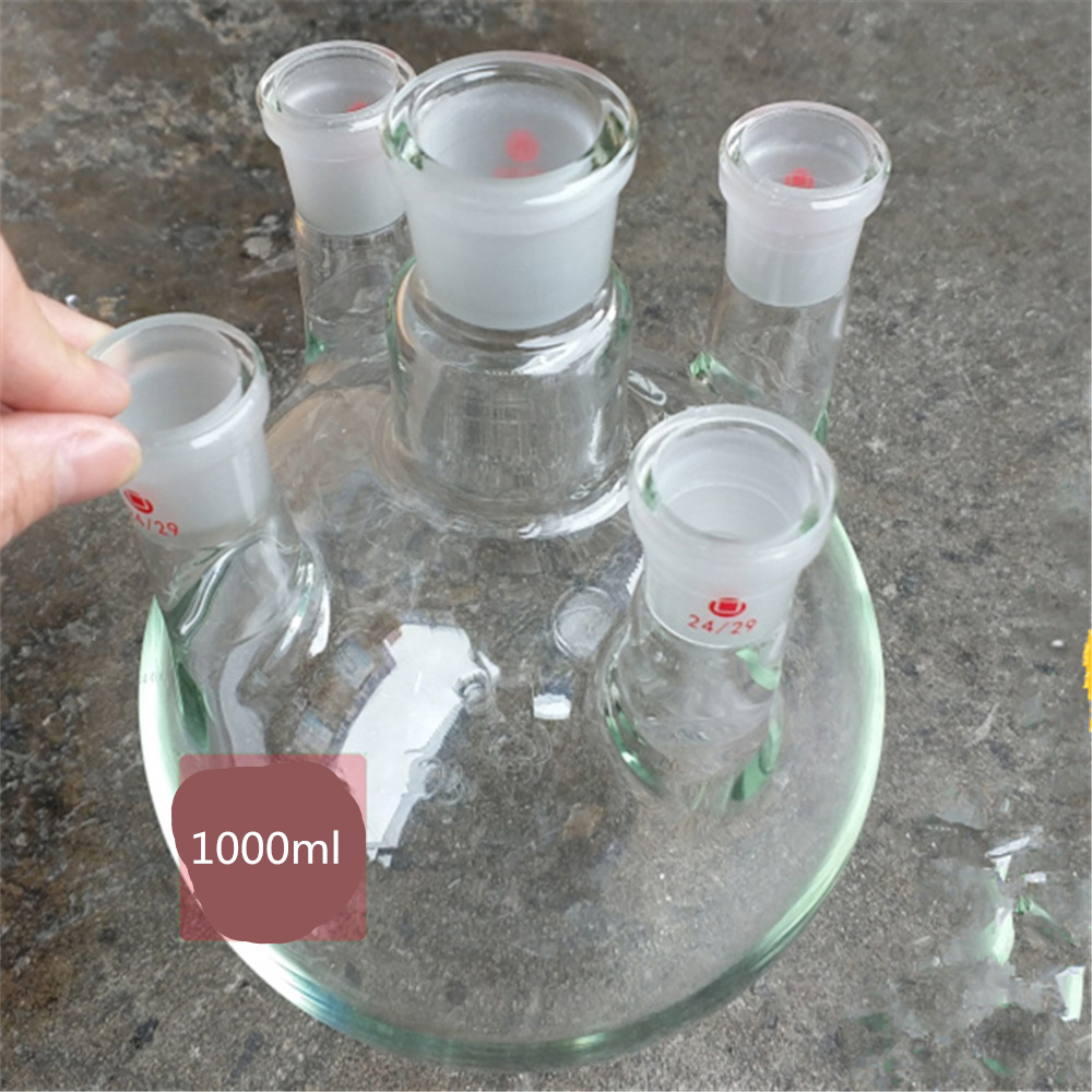 1000ml,24/29*5,5-neck,Round bottom Glass flask,Lab Boiling Flasks,five neck laboratory glassware reactor free shipping 100ml boiling flask 19 joint flat bottom lab glassware