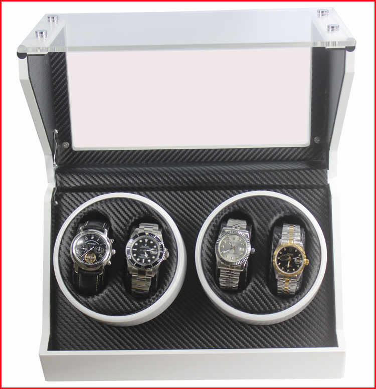 Superior Quality Ultra-quiet Motor For 4 watches Automatic Winder Scratch Resistant Toughened Glass black 1 0 automatic watch winder 5 mode ultra quiet motor wooden watch winders