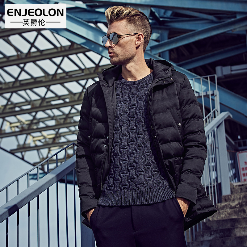 Enjeolon Brand Cotton Padded Hooded Jacket Men,windproof Parka Men Clothing,Thick Quilted black Hoodies Coat male WT0226 2016 men of new style fashion male hooded embroidery cotton quilted jacket down jacket coat