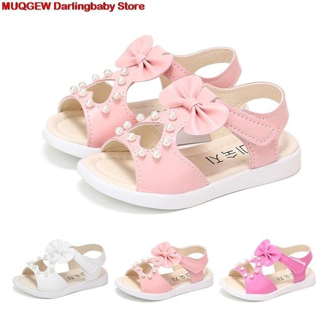 תינוקות פעוט סנדלי Bowknot פרל רומי חוף נסיכת ילדי סנדלי בנות סנדלי בנות נעלי בנות קיץ נעליים הנעלה