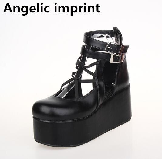 천사의 인형 모리 소녀 로리타 신발 여자 코스프레 신발 레이디 높은 사소한 발 뒤꿈치 펌프 웨지 여성 공주 플랫폼 신발 47-에서여성용 펌프부터 신발 의  그룹 1