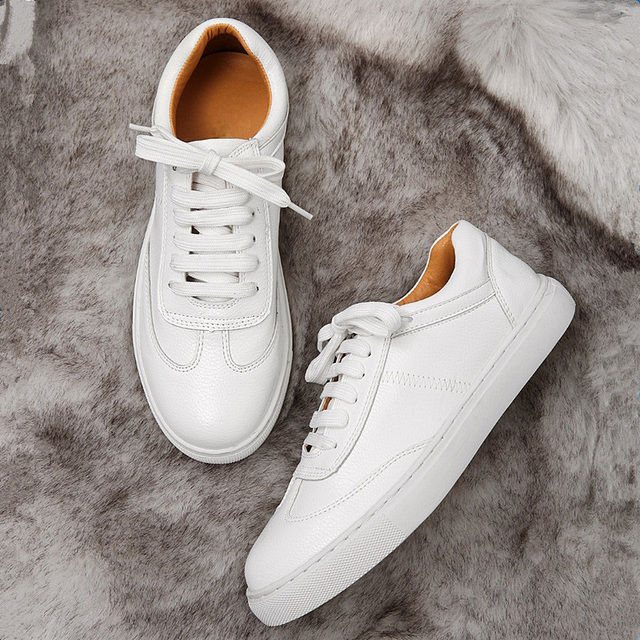 551c76ac56826 Teahoo Spring Autumn Lace up Women Sneakers Fashion Street Style Ladies  White Shoes Breathable Soft Leather Women Flats