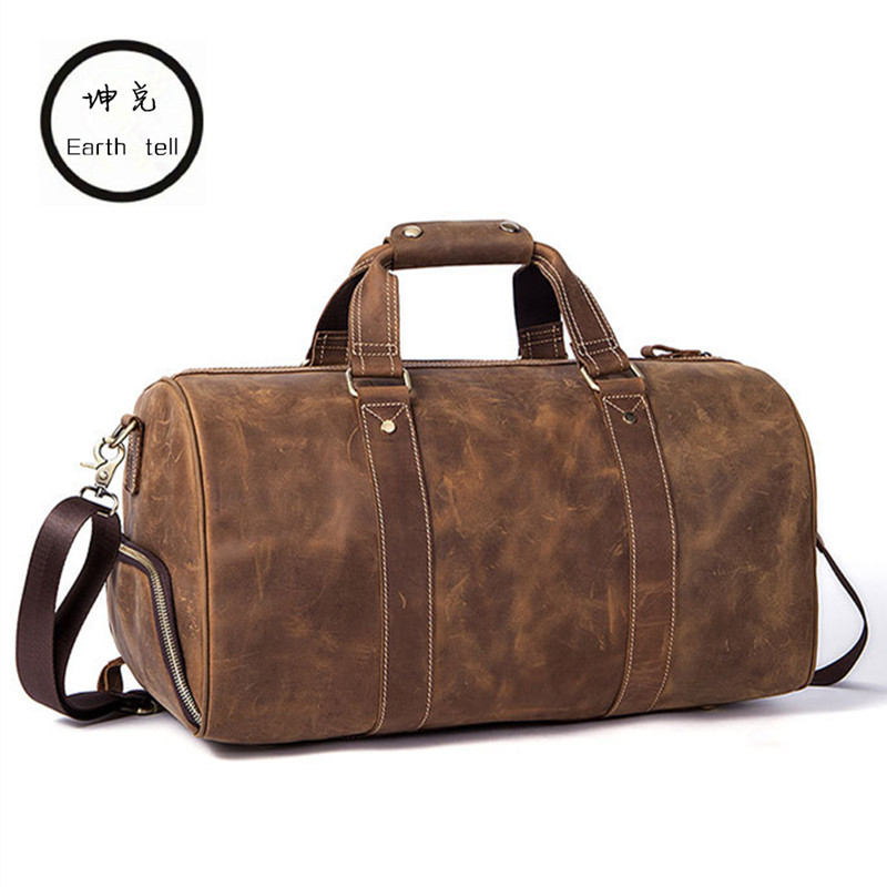 Genuine Vintage Cowhide Leather Unisex Handbags Tote Travel Bags Large Capacity Duffel Bag Buiness Travel Laptop Bags Luggage