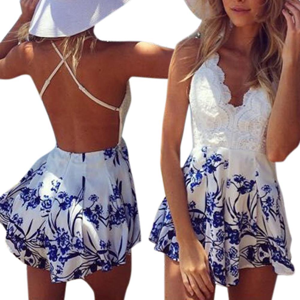 MISSKY Women Sleeveless Deep V-shape Collar Floral Print Jumpsuit Shorts Sexy Summer Romper Shorts