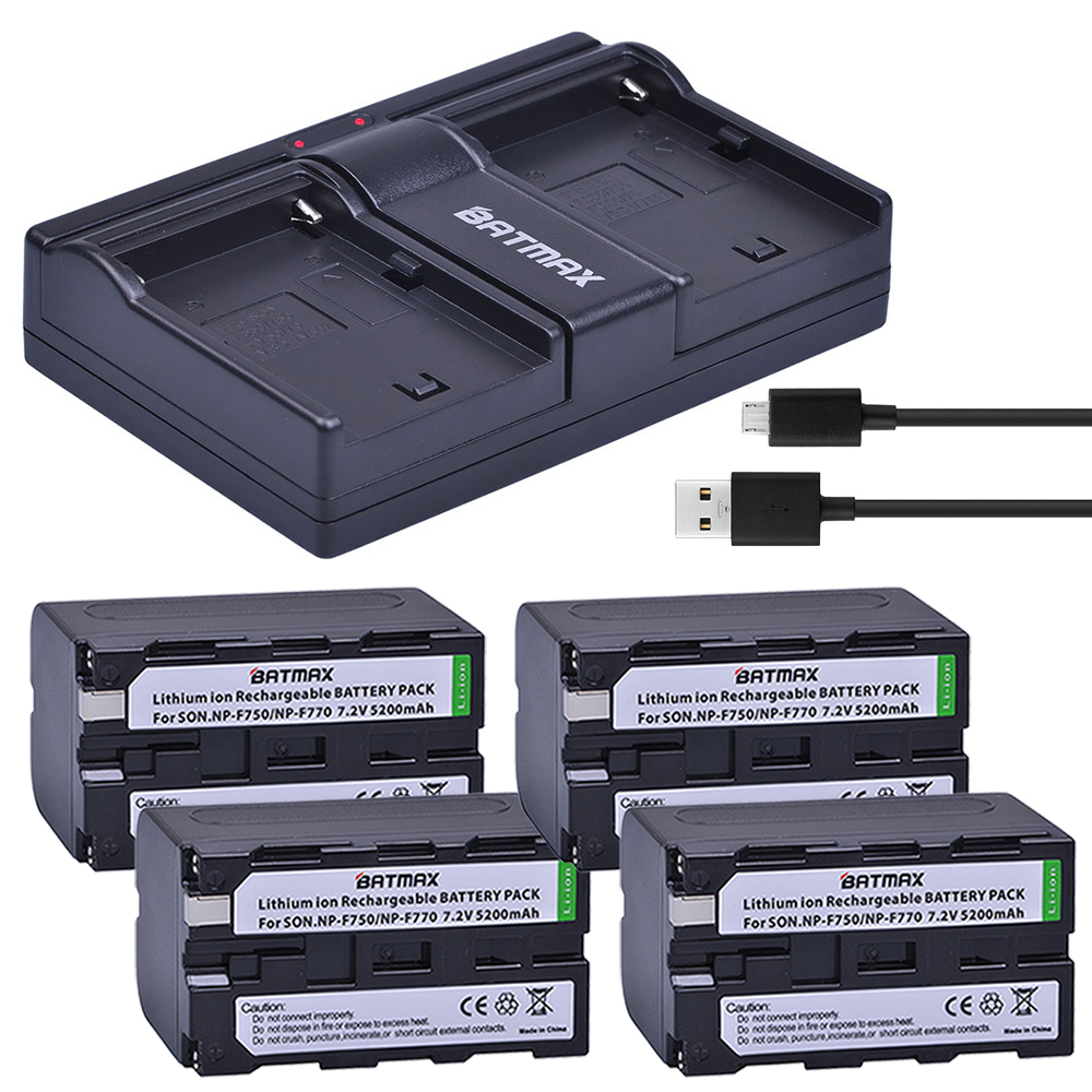Batmax 4Pcs 7 2V 5200mAh NP-F770 NP-F750 NP F770 NP F750 NPF770 750 Batteries   Dual USB Charger for Sony CCD-RV100 DCR-TRU47E