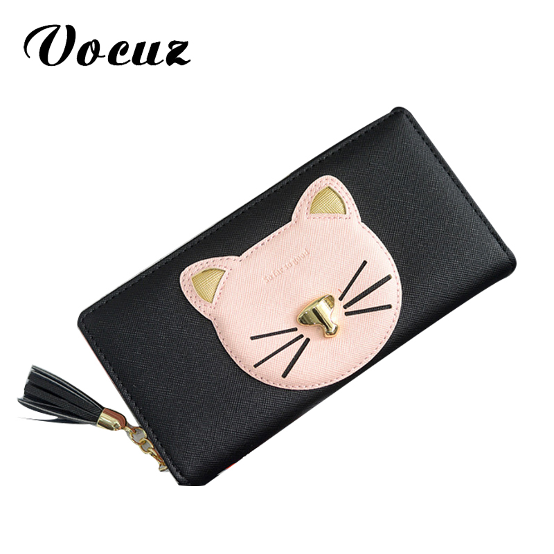 2017 new women wallet cute little cat women wallet then fight cross pattern PU long tassel zipper free delivery women long wallet cat zipper