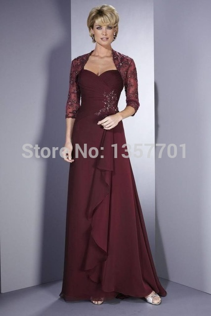Beading Picture Color Wine Red Vestido De Madrinha Elegant Bridal Mother Of The Bride Dress With