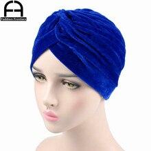 Fashion Women Velvet Turban Neon Casual Twist Stretch Turban Headband Chemo Hat Hijab Turbante Hair Accessories new fashion women knit turban plush wool lining turban ladies stretchy turban headband hijab turbante hat headwrap