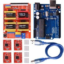 CNC Shield Expansion Board V3.0 +UNO R3 Board + A4988 Stepper Motor Driver With Heatsink for Arduino Kits K75 (CNC Shield+UNO стоимость