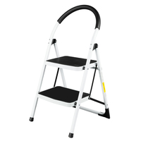 Household Industrial Lightweight Folding 2 Step Stool Mini Stepladders with Handle Multipurpose Non slip Iron Ladder For Home