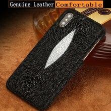 Чехол для телефона из натуральной кожи с жемчужинами и рыбками