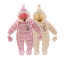 Russia Winter Brand Flower Baby Girl Rompers Newborn Thermal Overalls Snowsuit Down Jumpsuit Toddler Girl Winter Coat snowsuits