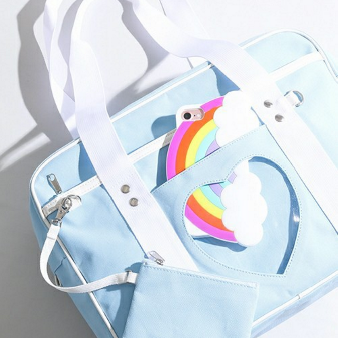 Japan Transparent Love Ita Bag JK Uniform Bag Makarong One Shoulder Handbag Lolita Messenger Bag  4 Color