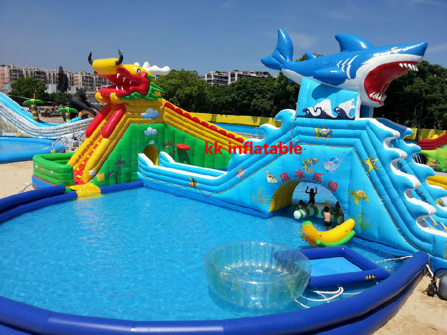 Giant and high quality inflatable water park on sale in for Achat toboggan gonflable piscine