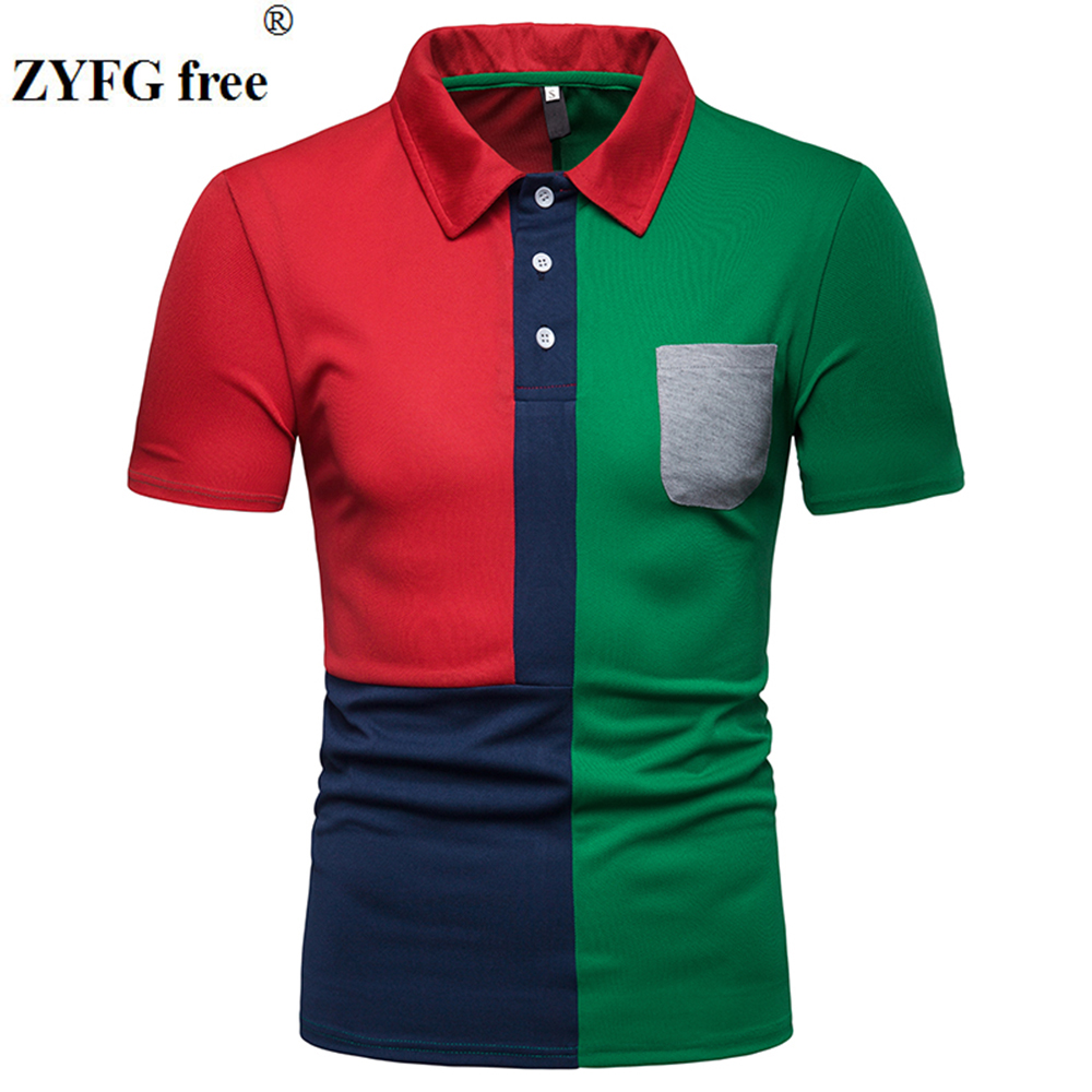 ZYFG free men   polo   short-sleeved turn-down collar splice   polo   shirt pocket decorative male tops spring and summer fashion male