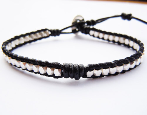 Bracelet réglable en cuir véritable et perles en argent Sterling unisexe