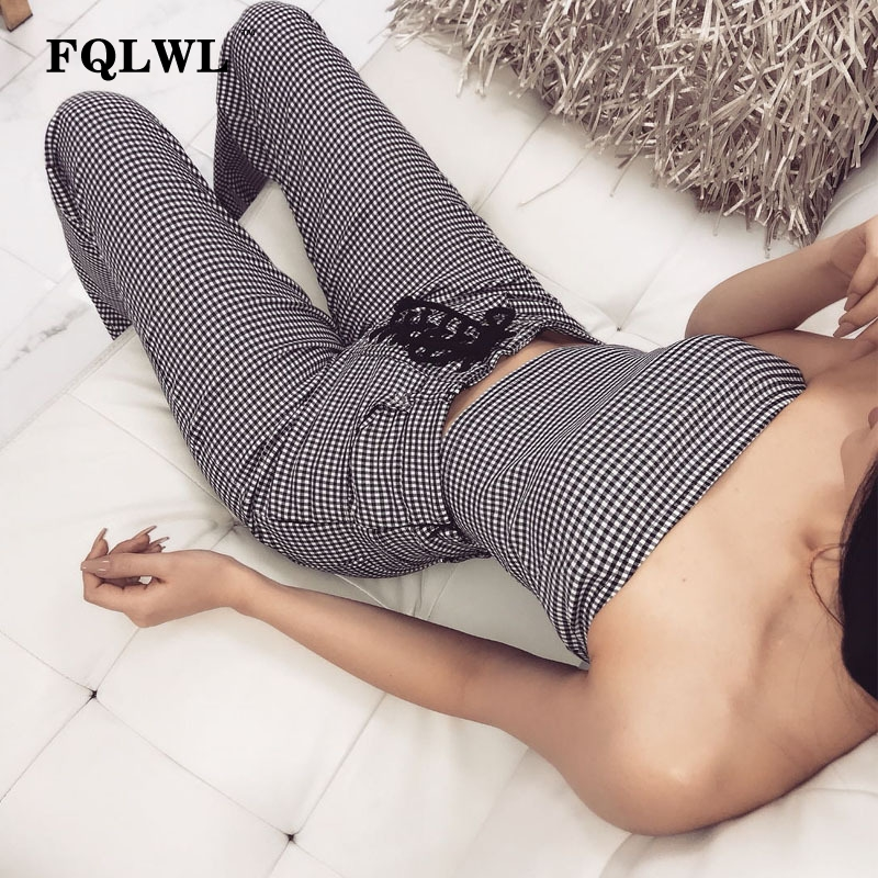 FQLWL Two Piece Set Plaid Bandage Jumpsuits Women Lace Up Pockets Backless Sexy Ladies Summer Rompers 2018 Streetwear Overalls