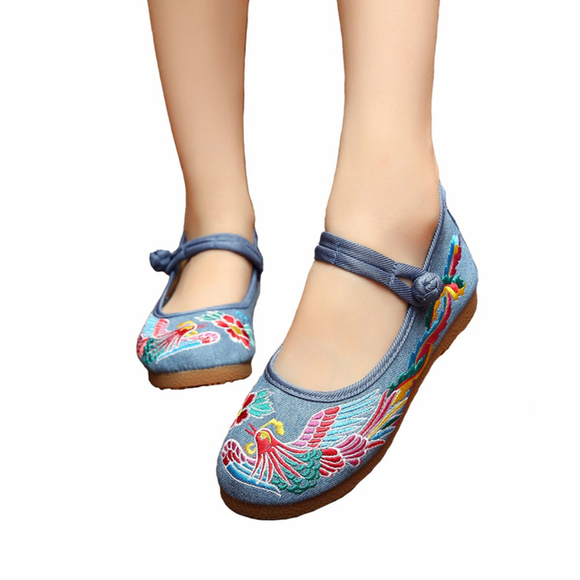 Mix Style Fashion Women's Shoes Old Peking Mary Jane Flat Heel Denim Flats with Embroidery Soft Sole Casual Shoes Size 34-41