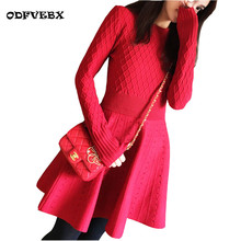 Boutique Autumn winter new women small incense knit red dress Sexy Slim was thin round neck A word bottomed dress ODFVEBX HY148
