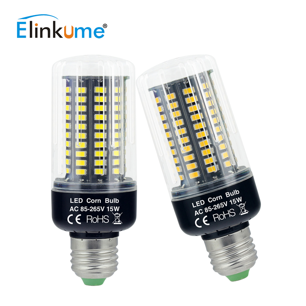 Elinkume E27 E26 LED Lamp 220v 230v 110v LED Bulb LED 3W 5W 7W 9W 12W 15W 18W Corn Light SMD5736 No Flicker Chandelier Light led corn light e27 110v 220v 5630 smd led bulb 5w 7w 9w 12w 15w 18w 24w daylight cool white 6500k warm white 3000k