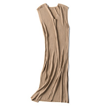 elegant knit t shirt maxi dress v neck tank straight bodycon sleeveless Ribbed long dresses sexy knitted blue purple black