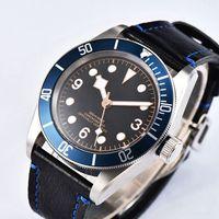 41mm Sterile Black Dial White Marks Sapphire Glass Blue Bezel Clock Mens Miyota Automatic Watch