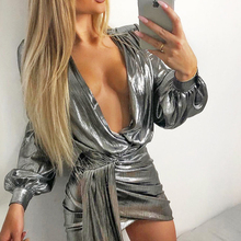 Silver satin long sleeve bodycon women dress Autumn deep v neck party club mini dress Elegant blue sexy dress vestidos